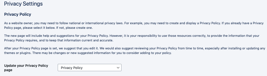Privacy Policy page setting