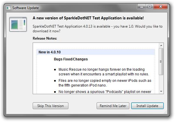 SparkleDotNET update window