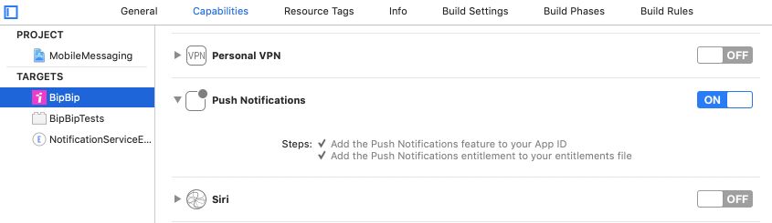Enable Push Notifications capability