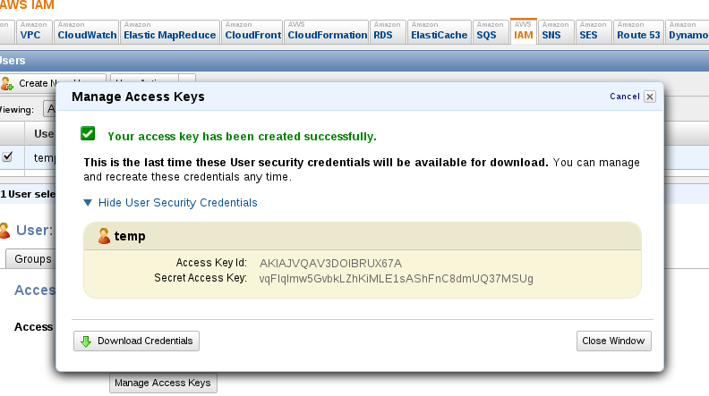 Reset AWS User Key