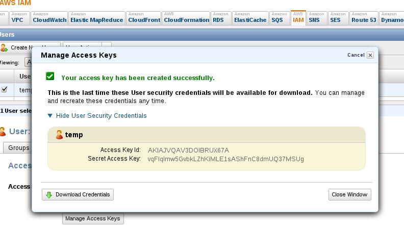 Reset AWS User Key