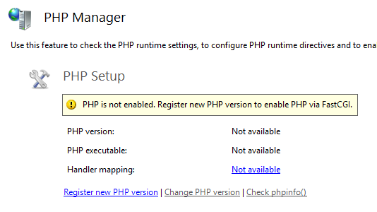 PHP is not enabled register new PHP version to enable PHP via FastCGI