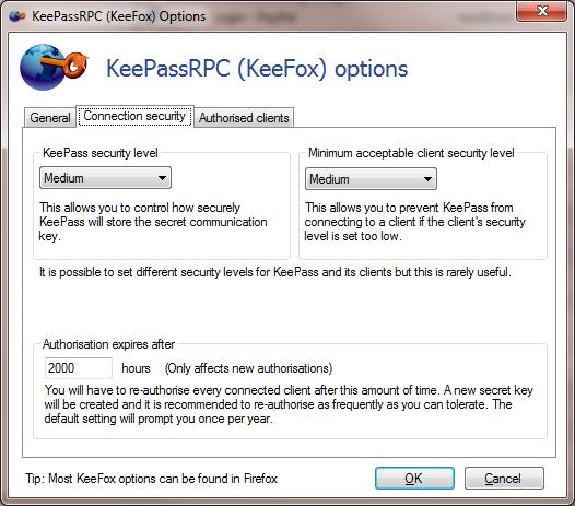 Screenshot of Connection security KeePassRPC options dialog