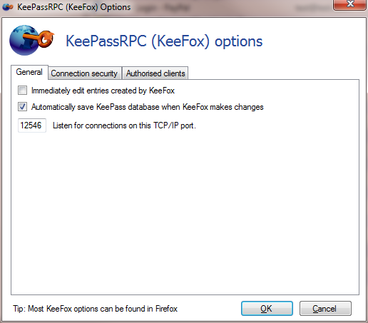 Screenshot of General KeePassRPC options dialog