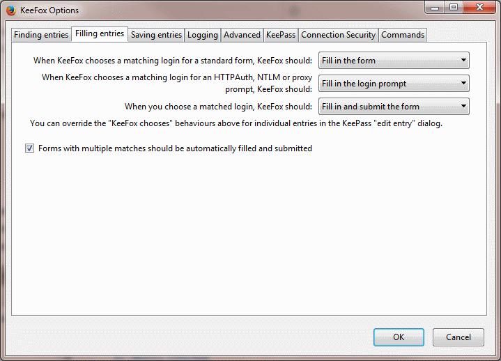 Screenshot of options dialog