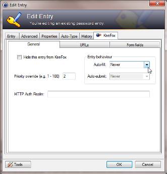Screenshot of KeePass edit entry dialog
