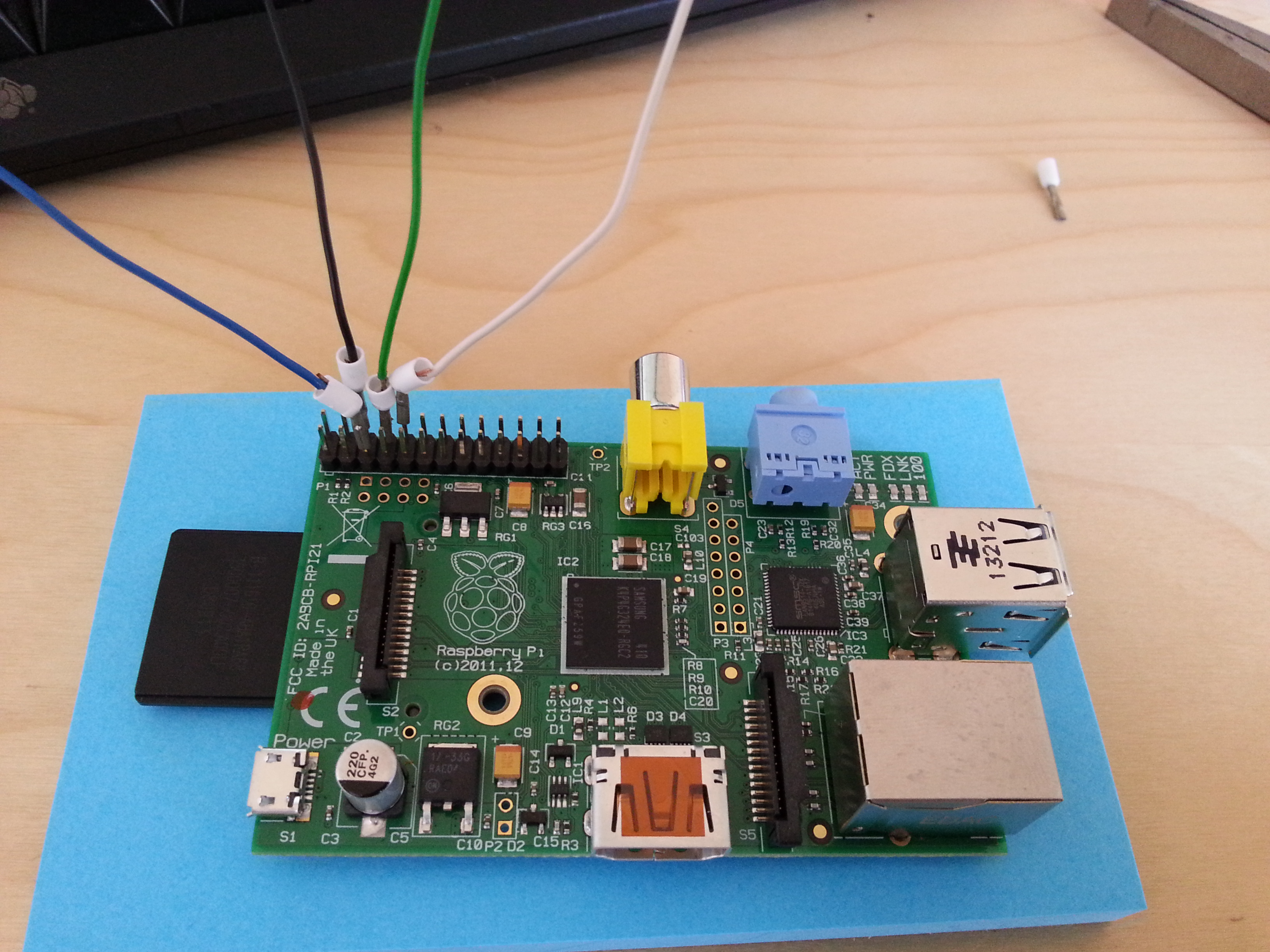 Raspberry Pi with wires connected to GPIO