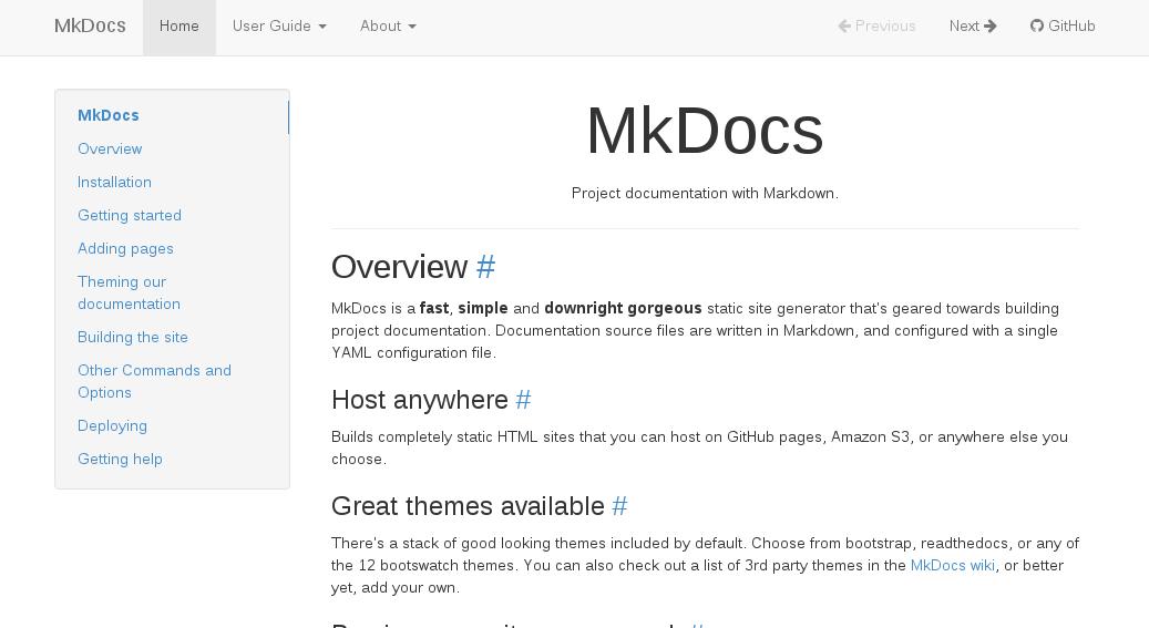 MkDocs Bootstrap
