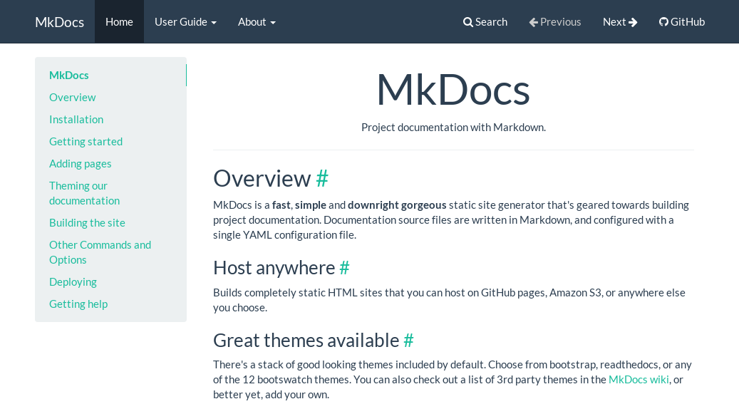 MkDocs Bootswatch