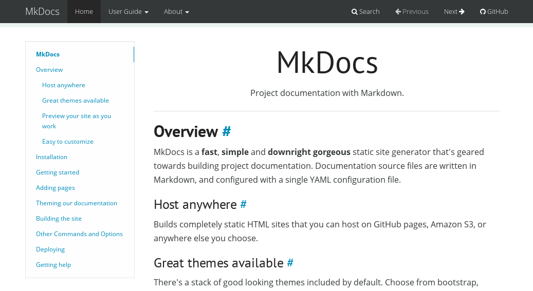 Mkdocs Themes Mkdocsmkdocs Wiki Github