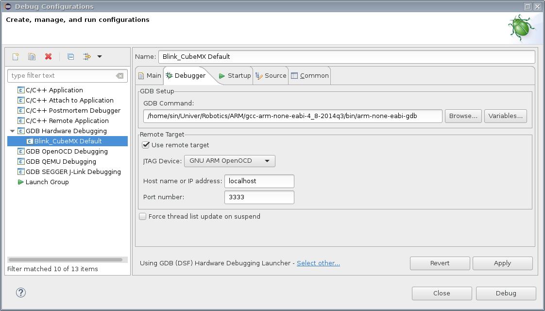 STM32 прошивка с помощью OpenOCD и отладка в Eclipse · mrsin
