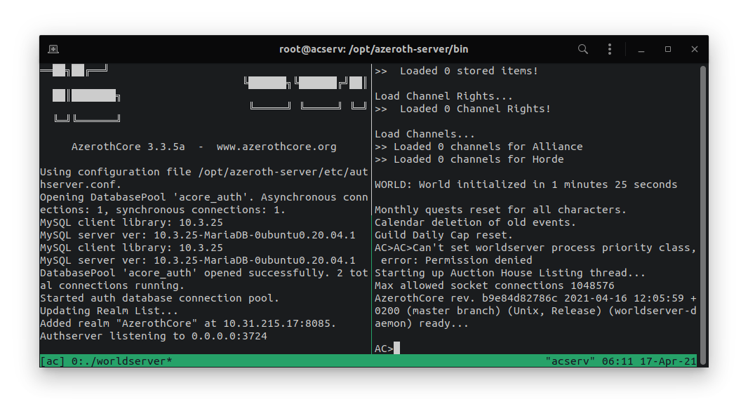 AzerothCore running inside an LXD container (tmux session)