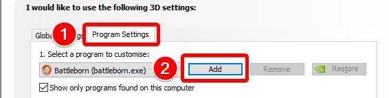 3D program settings