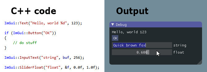 screenshot of sample code alongside its output with ImGui