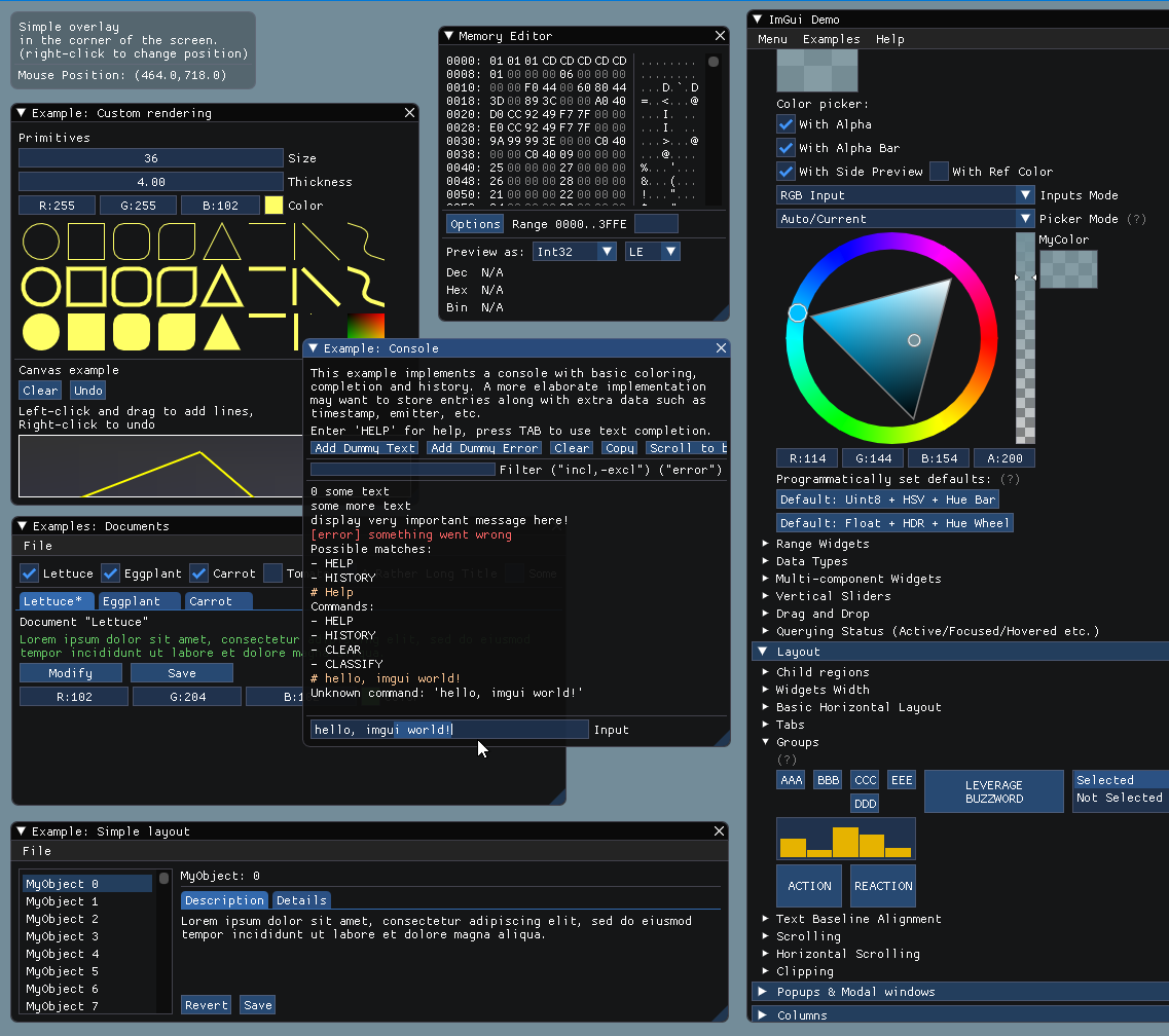 GitHub - ocornut/imgui: Dear ImGui: Bloat-free Immediate Mode