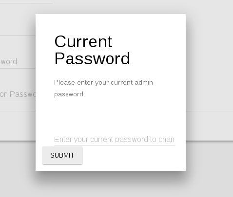 Settings Password Confirmation Dialogue