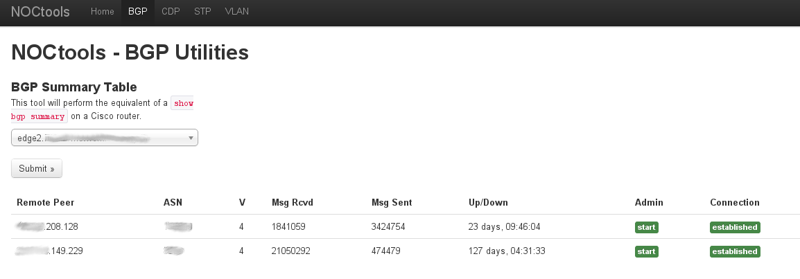 Screenshot of BGP Summary functionality