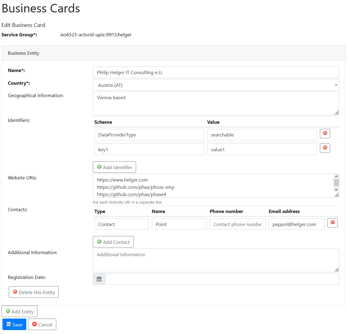 Edit Business Cards