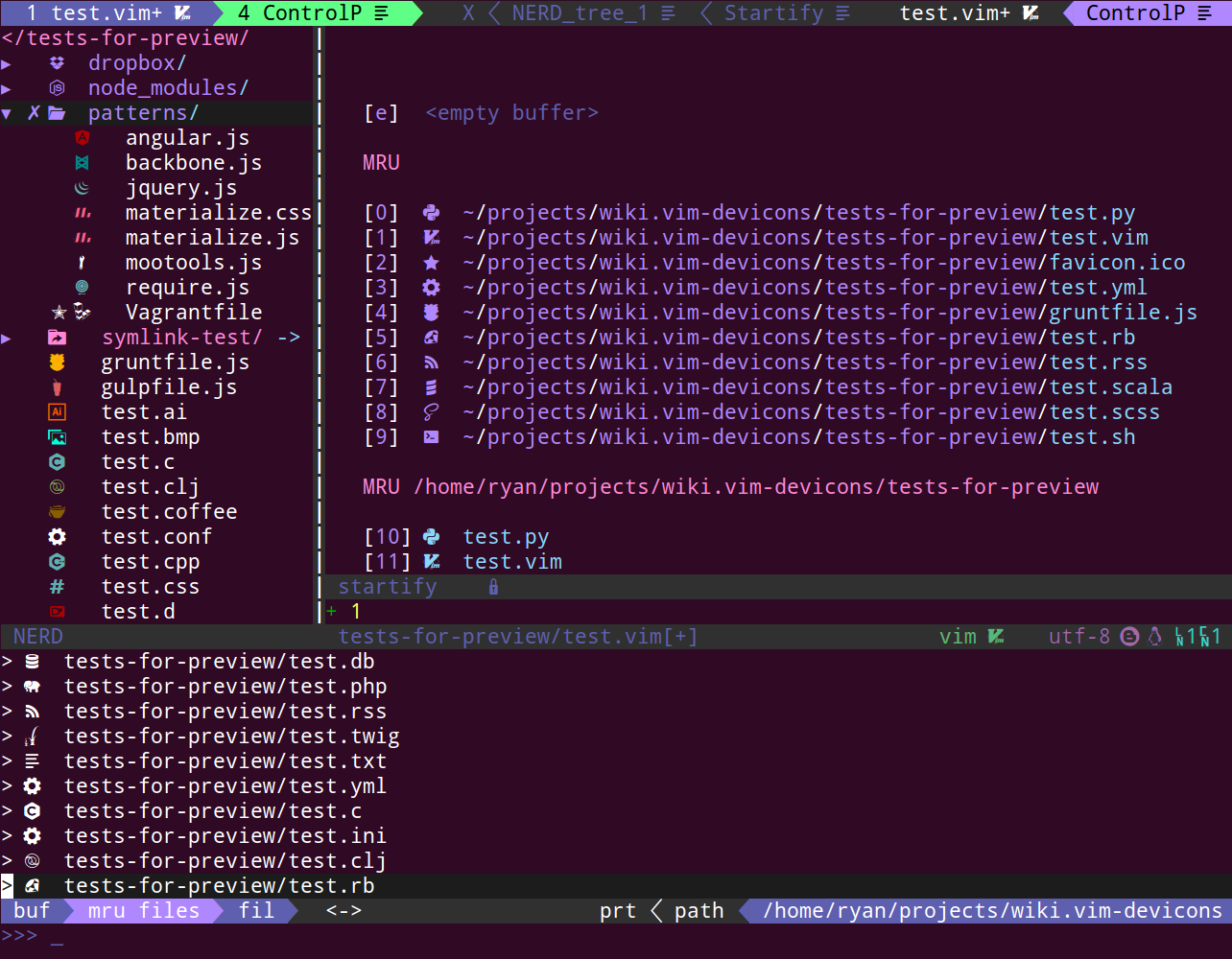 vim-devicons overall screenshot
