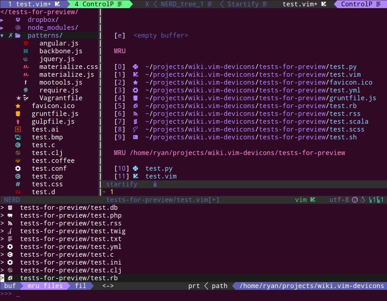 vim-devicons overall screenshot