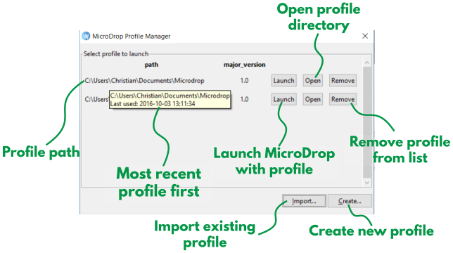 MicroDrop profile manager