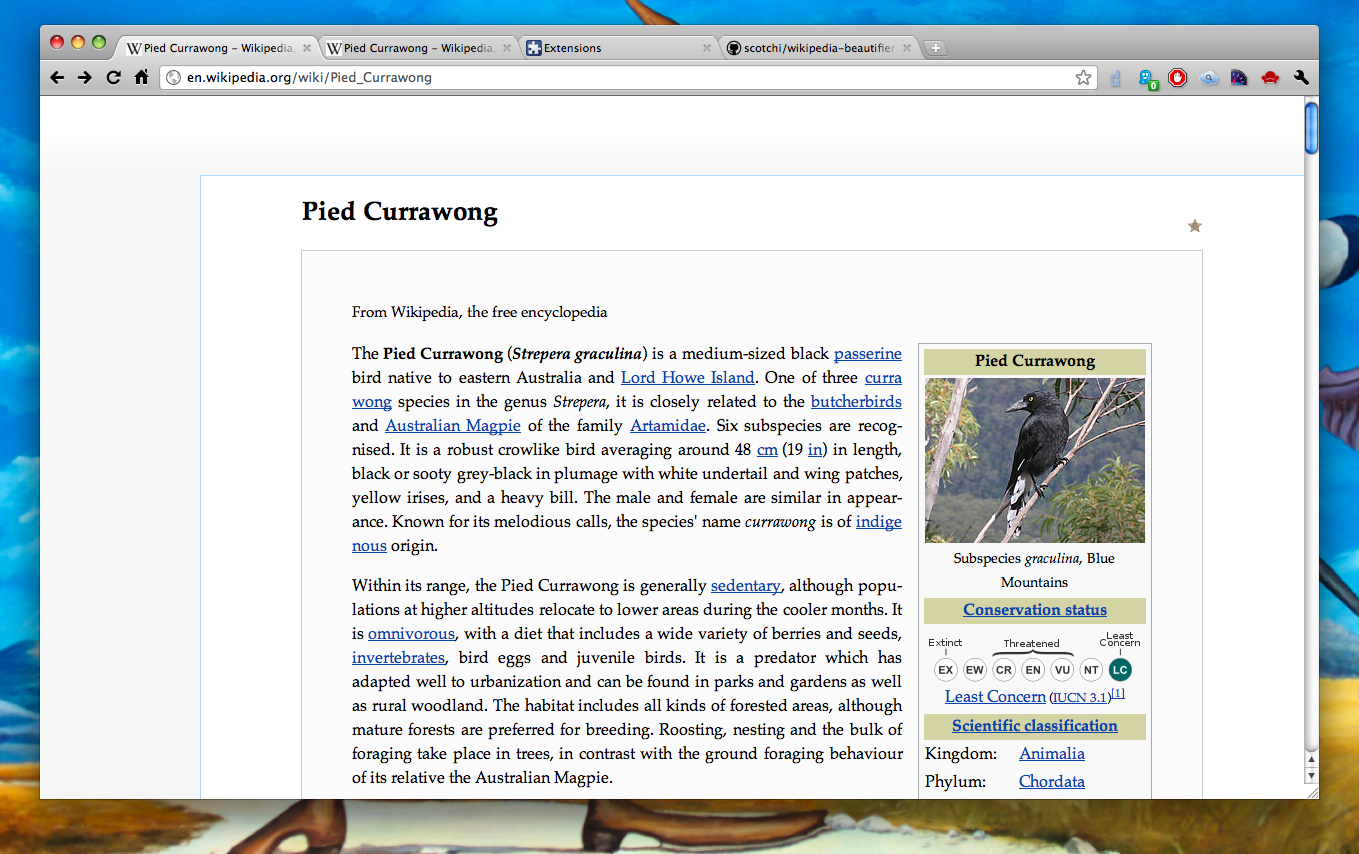 beautified Wikipedia layout