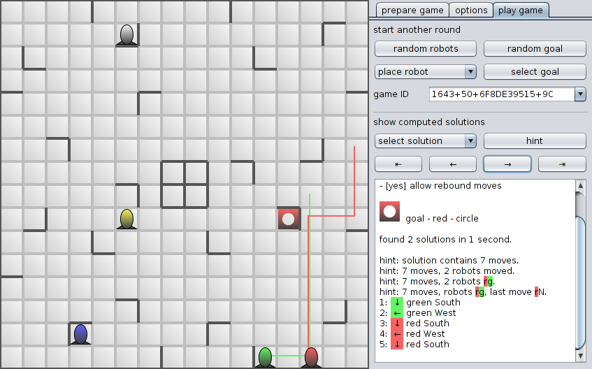 Screenshot of a game with a partially shown solution
