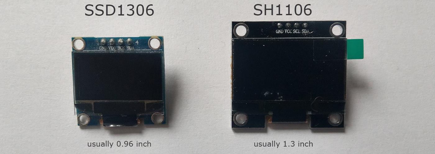 PICTURE SSD1306 vs SH1106