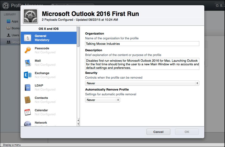Create a configuration profile · talkingmoose/Outlook