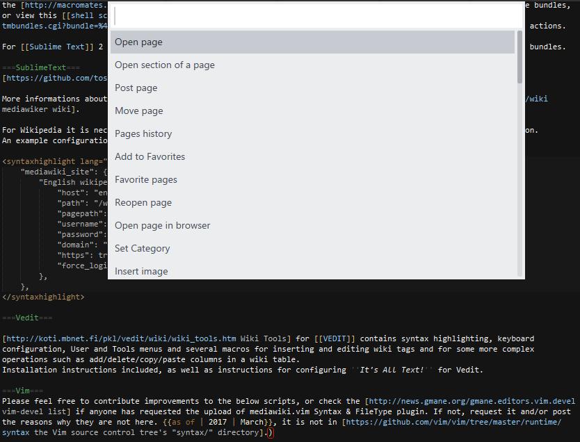Subime Text Wiki editor plugin - Mediawiker