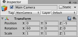 MainCameraの初期座標