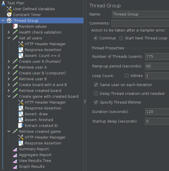 JMeter Thread Group Configuration