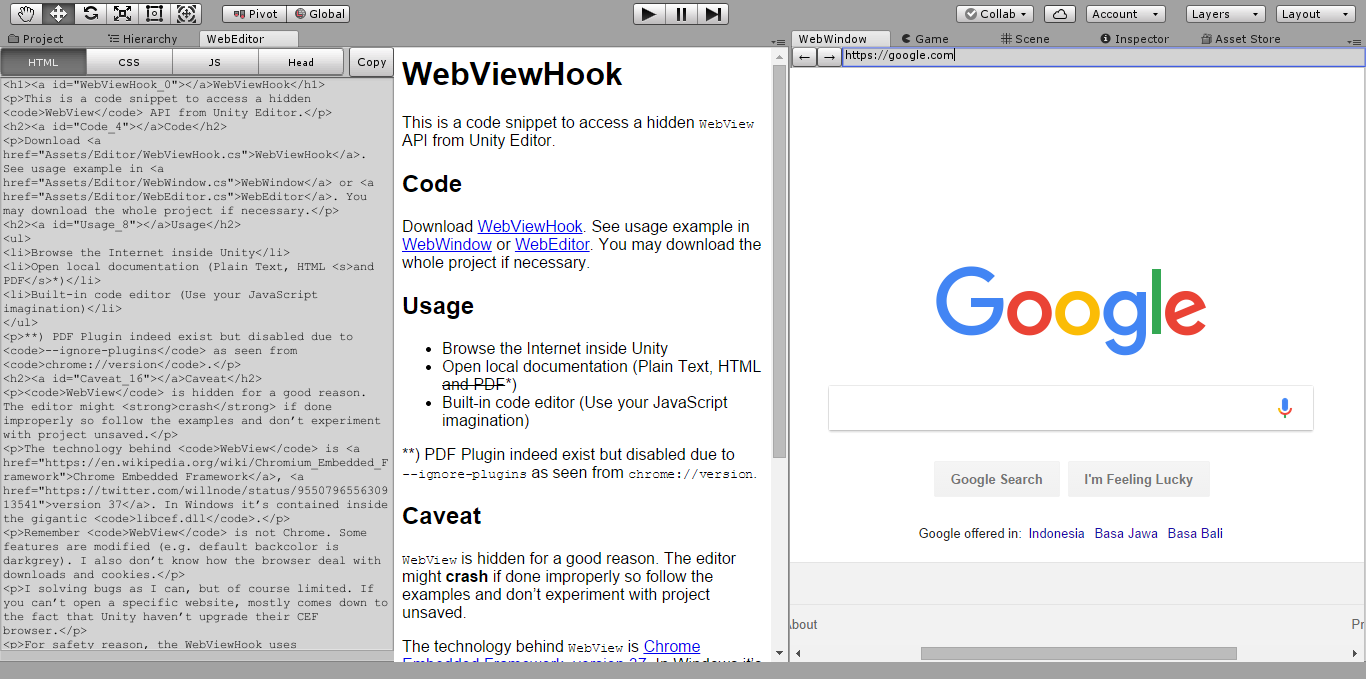 Web View Hook - UnityList