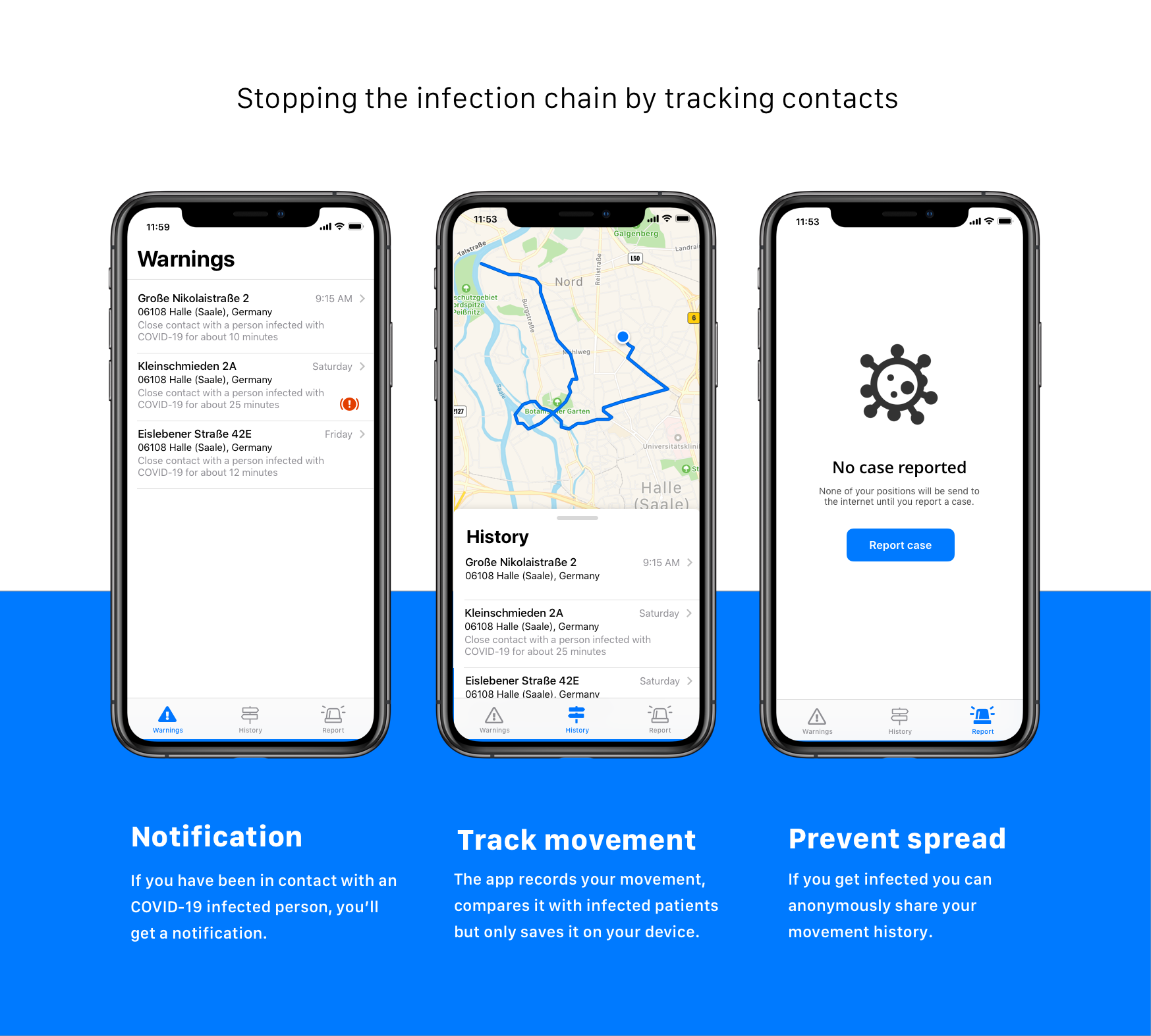 Infection chain tracker