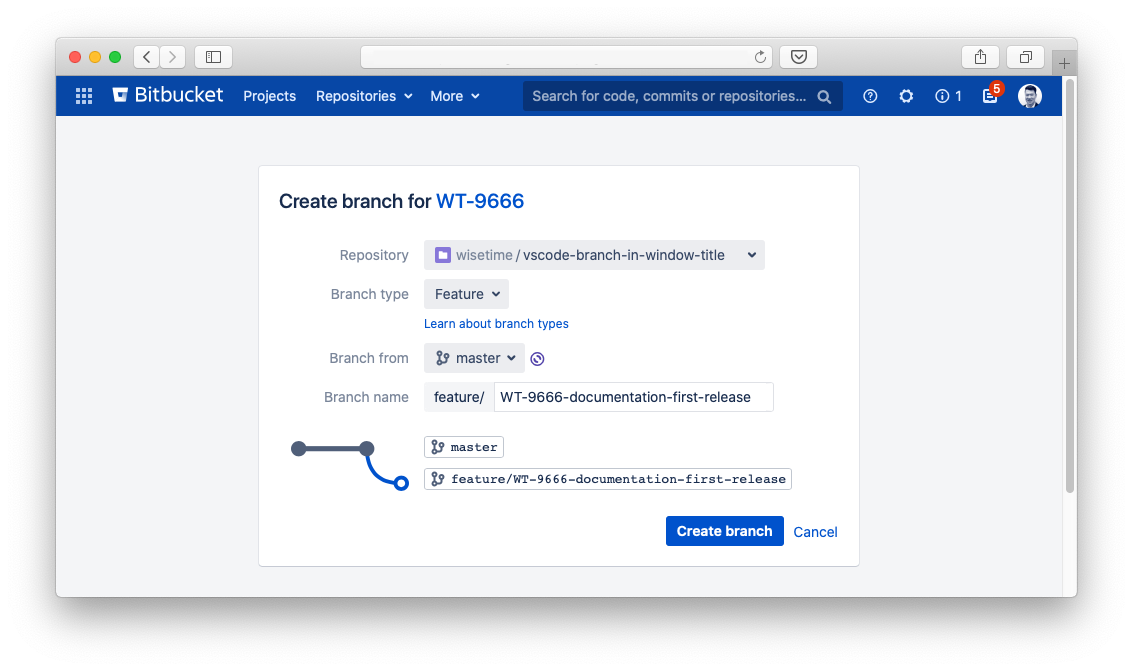 Create Git Branch from Jira