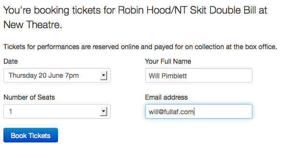 Ticket booking screenshot