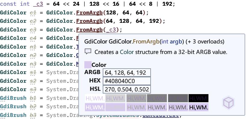 Super Quick Info - C# Color