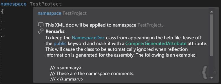 Super Quick Info Csharp Namespace