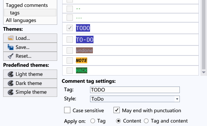 Syntax Highlight Comment Tags