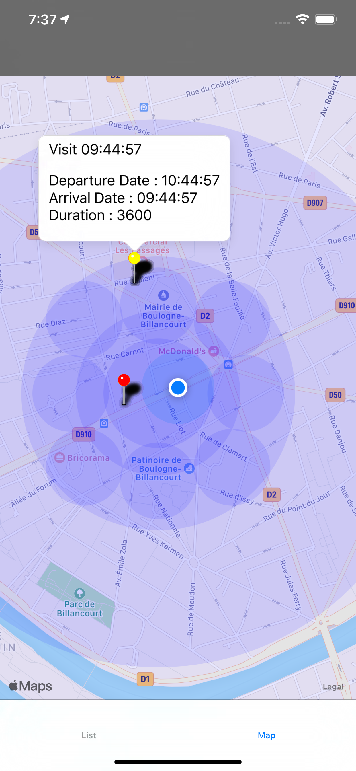 GeoSearch with Regions detections