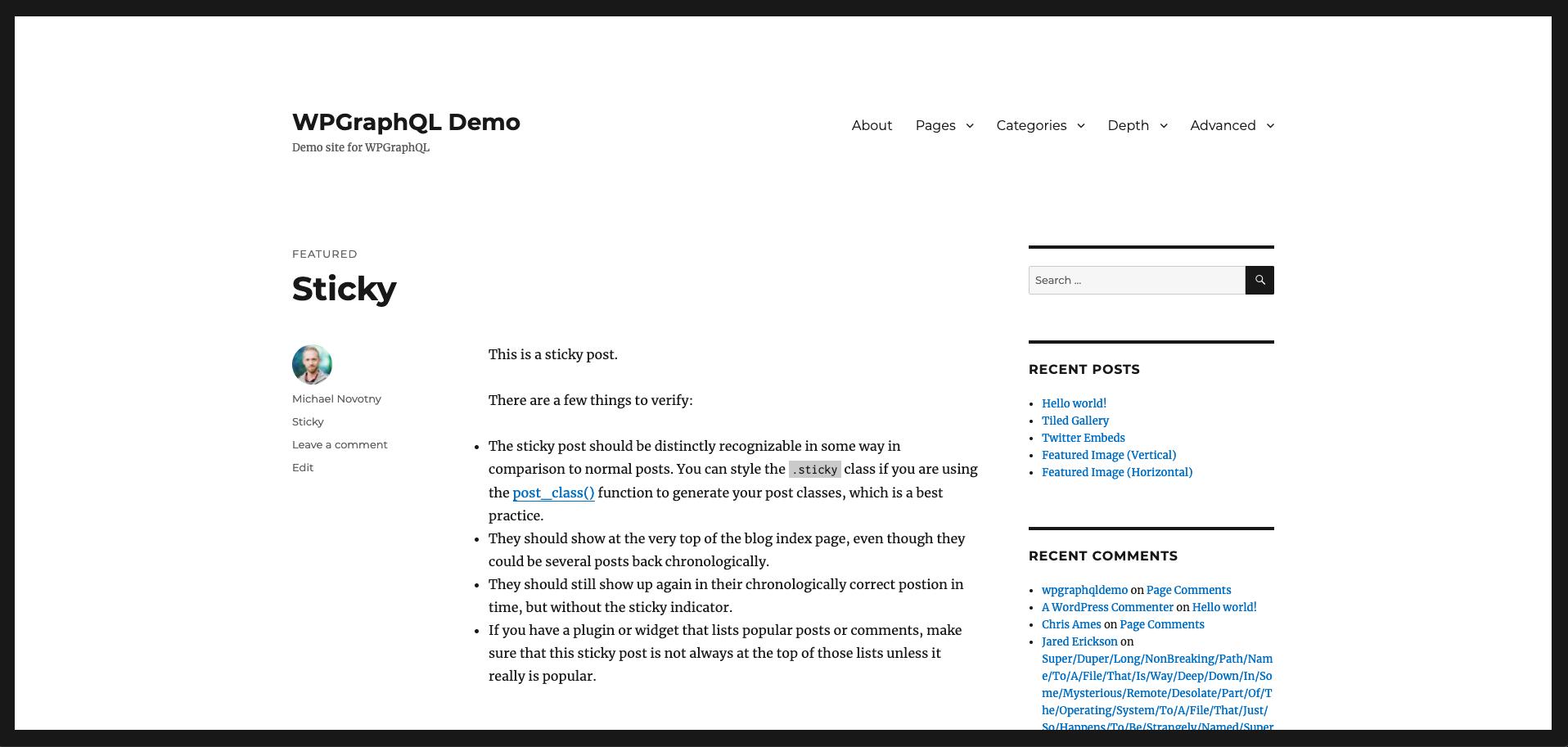 Screenshot of the WordPress source site