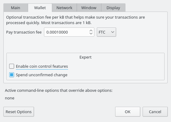 Settings Wallet Options