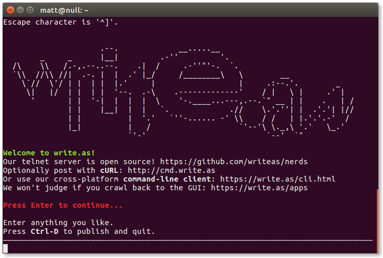 Write.as telnet server