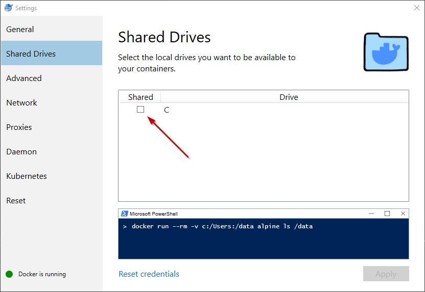 Docker Desktop Shared Drive