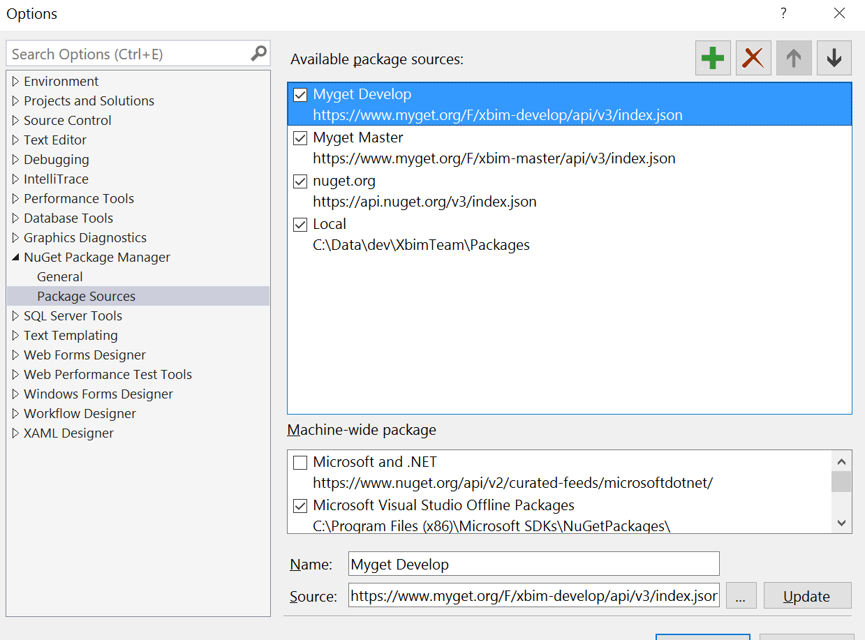 example of VS2015 configuration
