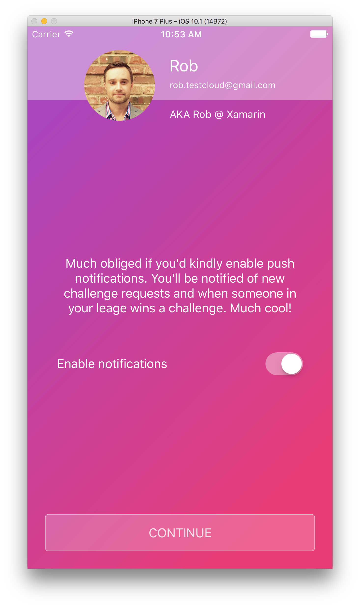 Optionally enable push notifications