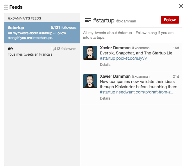 Modified Tweetdeck screenshot: Follow a custom feed