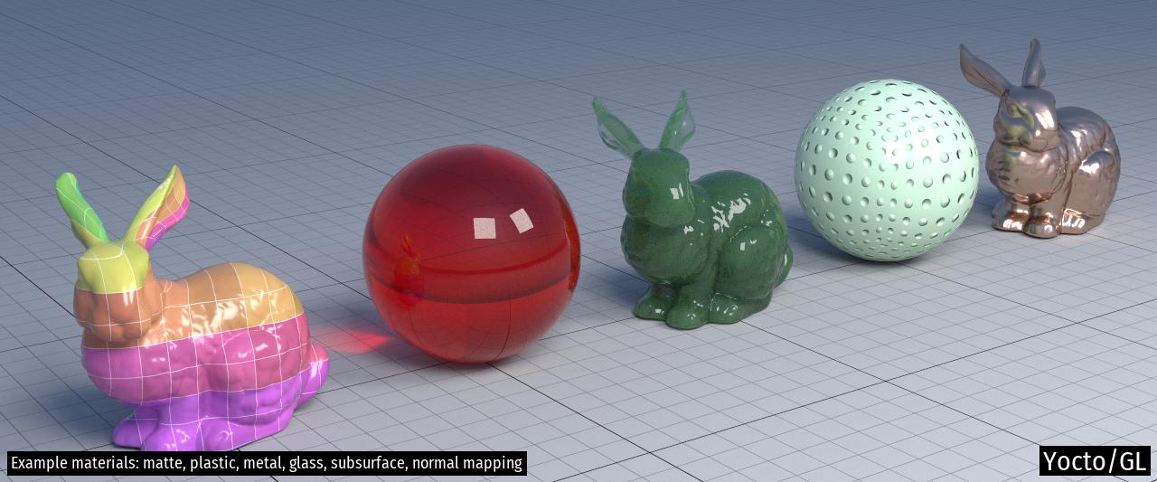 Example materials: matte, plastic, metal, glass, subsurface, normal mapping