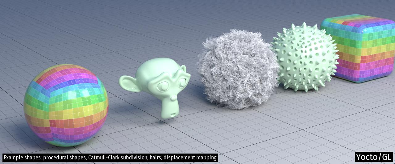 Example shapes: procedural shapes, Catmull-Clark subdivision, hairs, displacement mapping