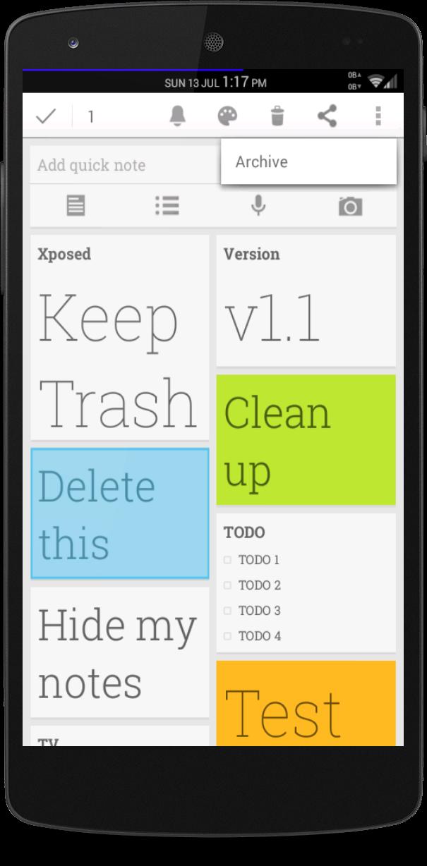 google -  [MOD] [Xposed] Udržujte Trash [v1.1]Google keep Screenshot_2014-07-10-21-15-55